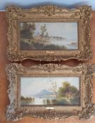 A 19th century Italian School, a pair of landscapes signed: 'G.Salvi', oil on panel, within a