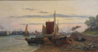 Frank Rawlings Offer (1847–1932), 'Sailing boats on shoreline, with further boats and a town on