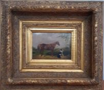 A 19th century English School, Follower of James Ward RA, 'Horse and dog', oil on panel, within a
