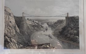 """""""Clifton Suspension Bridge"""", a print published by James Bolton, within a Bird's Eye maple frame, ("""