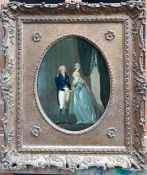 """A 19th century English School, """"George IV and Mrs Fitzherbert"""", oil on copper, within a French Louis"""