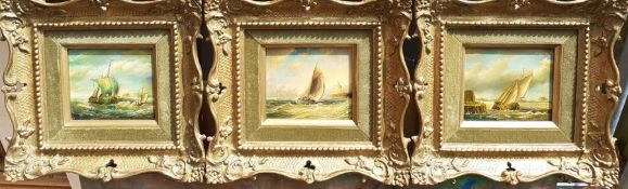 A group of three miniatures depicting dutch fishing vessels in choppy coastal waters, two of them