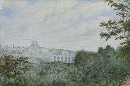 "Robert Streatfeild (1786-1852) British, ""Lausanne, Switzerland: The Grand Pont and City on the North"