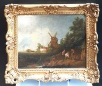 A follower of Norwich School, 'Works near a windmill', oil on panel, within a Louis XIV style gilded