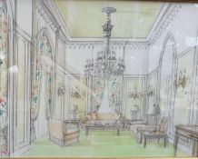A 20th century English School, 'Green interior', mixed media on paper, framed and glazed, (38x50
