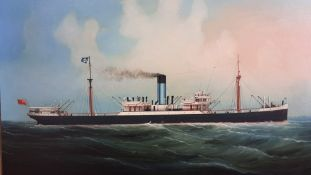"""An oil on canvas depicting the steam ship """"Priam"""", within a wooden type frame, (44.5x59 cm)."""