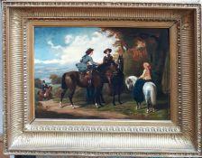 Attributed to Henri Auguste D'Ainecy, Comte de Montpezat (1817-1859), 'Ladies on horseback',