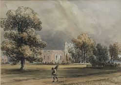 """Anthony Vandyke Copley Fielding (1787-1855) English, """"St. Lawrence, Whitchurch, Little Stanmore"""","""