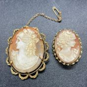 Cameo Brooch 9ct Gold mounted & another in rolled Gold.