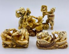 A selection of five ivory netsukes in various styles