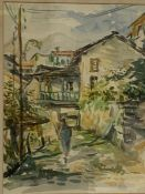 A 20th century Continental school, 'Village view', watercolour and pencil, framed and glazed, (38x29