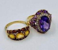 Two 9ct gold fashion rings, stamped 375 (Total Weight 8g)