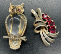 Trifari Vermeil Sterling Jelly Belly Owl fur clip Lucite Cabachon with clear & red pastes &