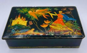 A Large Russian lacquered box, dated 1972 and signed to base of picture.(17cm x 10 cm x 4cm)