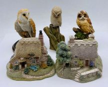 Two Lilliput Lane cottage and three owls.
