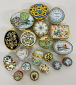 A Selection of nineteen Halcyon Days enamel boxes.