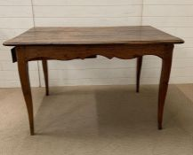 A French oak farm house table, three plank top with drawer C1840's (H78cm W128cm D83cm)