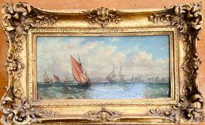 A Gilt framed nautical framed print, J W Carmichael.