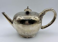 "An Edward Vincent ""Bullett"" silver teapot, possibly 1728, (450g)"