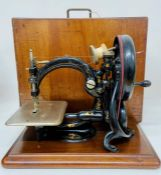 A Willox & Gibbs sewing machine in pine box (Being sold on behalf of the Salvation Army)