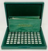 The John Pinches '100 Greatest Cars' silver miniature collection. in original box and with