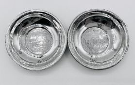 Pair of Sterling silver Queens Silver Jubilee commemorative pin dishes by Cooper Brothers Limited