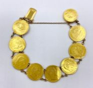 A gold bracelet made up of eight gold Five Franc gold coins from 1857 to 1860