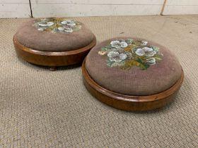 Two Victorian needlework footstools AF
