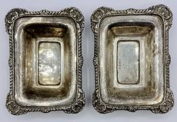 Two silver pin trays, hallmarked for Birmingham 1910 and with makers mark JW