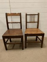 Two Welsh oak hall chairs