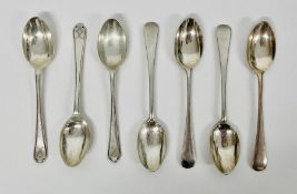 A small selection of seven hallmarked silver teaspoons. (92.5g)