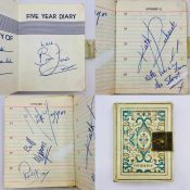 An autograph book of all the members of the Rolling Stones: Brian Jones, Mick Jagger, Bill Wyman,