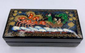 Small Russian lacquer box, signed,(9.5cm x 4.5cm x 3cm)