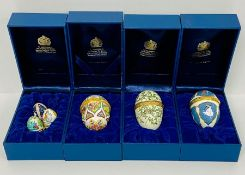 A selection of boxed Halcyon Days Enamels boxes