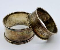 Two silver hallmarked napkin rings