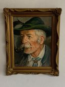 20th century German school, 'Portrait of a man in a traditional costume', illegibly signed and
