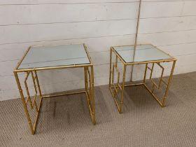Two nesting mirrored side tables with gilt metal base (Largest 46cm x 40cm)