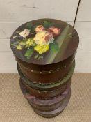 A set of four nesting decorative wooden boxes with floral theme (Largest H21cm Dia35cm)