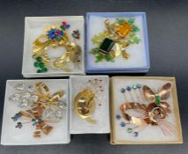 Collection of Coro & Coro Craft Vermeil Sterling Pins set with pastes c1940s (10)