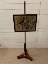 A Victorian pole screen (H140cm W46cm)