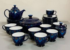 A selection of Denby, Baroque pattern to include: three dinner plates, five bowls, teapot, sugar