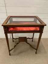 A Bijouterie table with fruitwood inlay (71cm h x 59cm w x 46cm d)