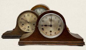 Three vintage mantle clocks, napoleon hat style