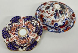 Five Wileman Japan Imari pattern side plates and two saucers along with a lidded plate