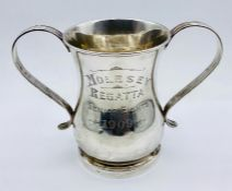 A two handled silver tankard for Mappin and Webb, hallmarked for London 1909. (Total weight 370g)