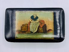A Georgian snuff box with painting of washer woman to lid