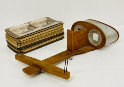 Stereoscope viewer with mix of WWI Boer war and middle east stereo photos