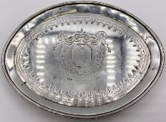 A Georgian silver crested small tray, visiting cards possibly, London 1813