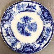 A large selection of blue and white platters, bowls, dishes and plates various makers