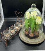 Two table decorative items, faux hyacinth builds under glass dome and a wire tee light holder